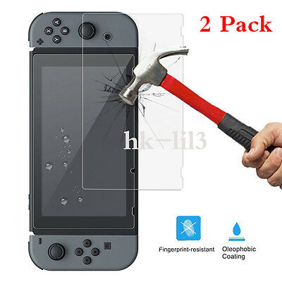 AU 2Pcs Tempered Glass Screen Protector Film Guard Sheet HD For Nintendo Switch