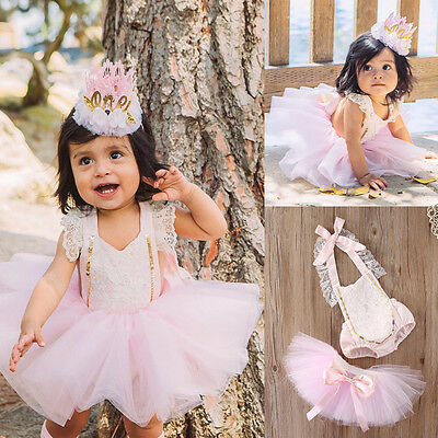 Princess Kids Baby Girls Lace Romper+Tutu Tulle Skirts Sunsuit Outfits Clothing