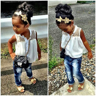 Elegant Baby Girls Kids White Sleeveless Summer Lace Chiffon Tops Shirt Blouse
