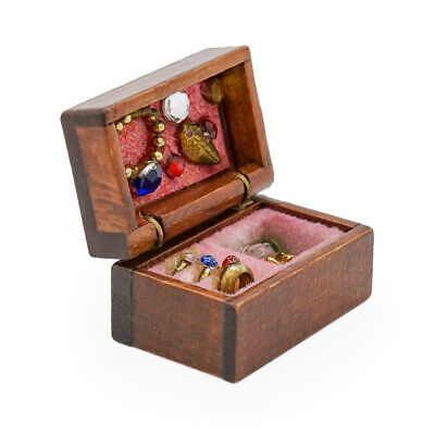 1/12 Dollhouse Wooden Filled Jewelry Box Miniature Chest Case Decor Accessories