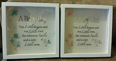 Baby girl or boy keepsake frames