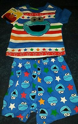 Baby boys size  0 genuine licenced sesame street cookie monster pjs