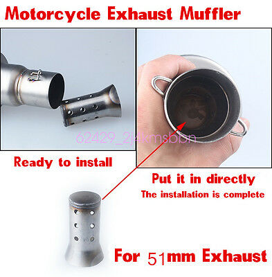 51MM Universal Motorcycle Exhaust Can Muffler Insert Baffle DB Killer Silencer