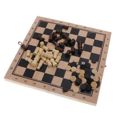23.8x23.8cm 3 in 1 Fold Chess Set Board Game Checkers Backgammon Draughts S
