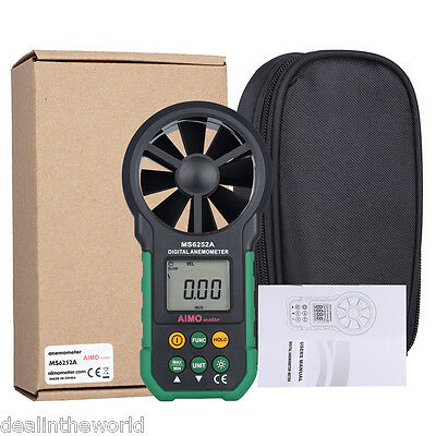 AIMOMETER MS6252A Digital Anemometer Air Speed Gauge Meter with LCD Backlight