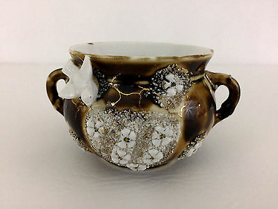 Antique porcelain Washington D.C. souvenir sugar bowl, birds & flowers 1890's