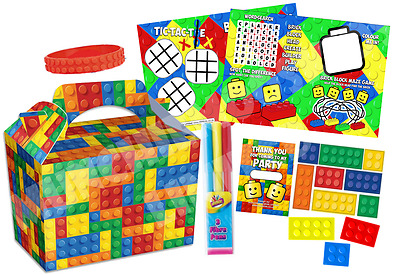 Pre Filled Brick Block Party Box - Parties Gift Activity Bags
