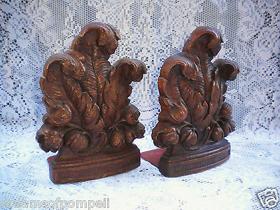 Vintage Original Syroco Wood Hollywood Regency Glam Fancy Feather Plume Bookends