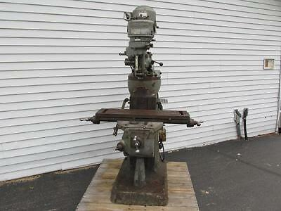 "Good 1963 1 HP Bridgeport J Head Vertical Milling Machine 9"" x 36""  3 Phase"