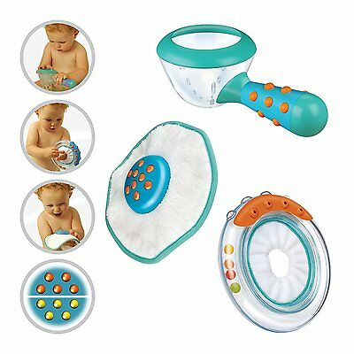 Brother Max 3 Piece Bath Toy Set . Sprinkler cup,  Ring rattle & Twister Flannel