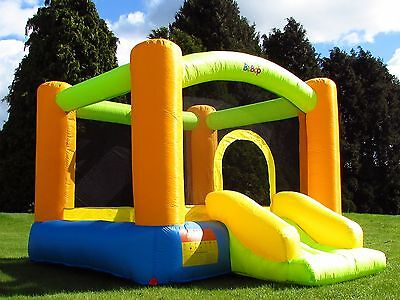 BeBop Grasshopper Kids Inflatable Bouncy Castle and Slide for Children Garden