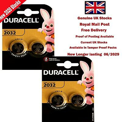 4 x 3V Duracell Coin Cell  DL2032/CR/BR2032/CR2032 Car Key Fob Remote Battery