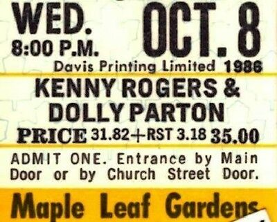 KENNY ROGERS & DOLLY PARTON Vintage 1986 Concert Ticket - Maple Leaf Gardens
