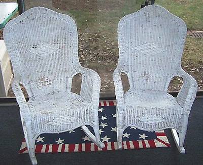 Antique Vintage Victorian Wicker Rocking Rocker Chairs Porch PICKUP ONLY