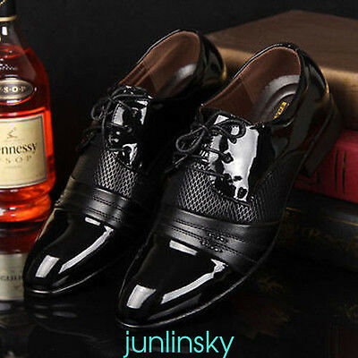 Men's Casual Pantent Leather Shoes Pointed Toe Bridegroom Wedding Shoes