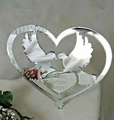 Wedding Cake Topper Personalised Doves Mirror Acrylic Mr & Mrs Heart Keepsake