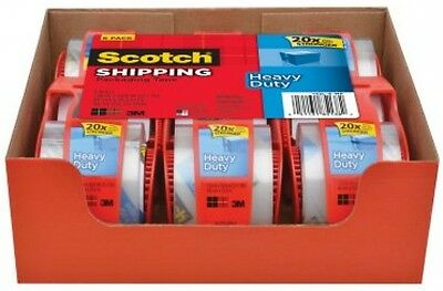 "3M Scotch Clear Shipping Packing Tape 2x1000"" 6 Rolls w/Dispenser Heavy Duty NEW"