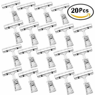 Sign Clips, Outee 20PCS Merchandise Sign Clips Display Clip on Sign Holder Clear