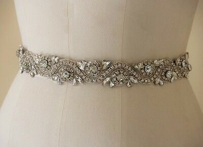 Wedding Dress Sash Belt - Crystal Sash Belt = 17 inch long