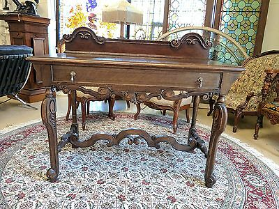 Antique Berkey & Gay Console Table Writing Desk Brand Mark 1905-29 Dark Oak