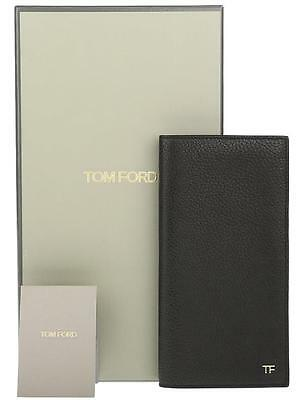 New Tom Ford Black Leather Tf Logo Bill Cc Id Checks Bifold Breast Pocket Wallet