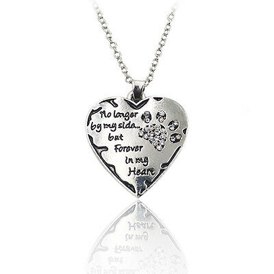 Clear Crystal Dog Paws No Longer By My Side But Forever In My Heart Necklace