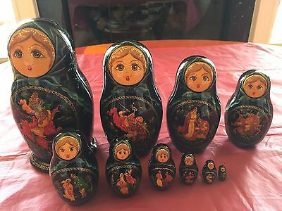 Hand Painted Russian Nesting Dolls Sergiev Posad Signed - 10pc Vintage Cir. 1992
