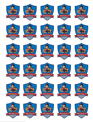 30x Paw Patrol Personalised Cupcake Toppers Edible Wafer Fairy Cake Decoration