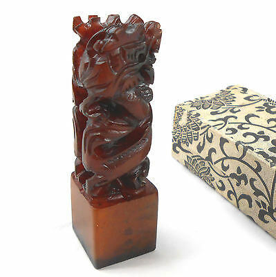 "Chinese Carved Stone DRAGONS CHOP Etched ""Scholar"" Chop Seal Stamp in Box"