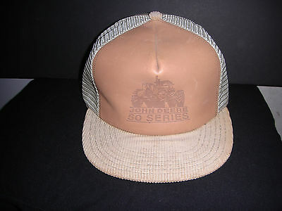 Vintage John Deere Ball Cap 50 Series Tractor Leather Corduroy Mesh Trucker Hat