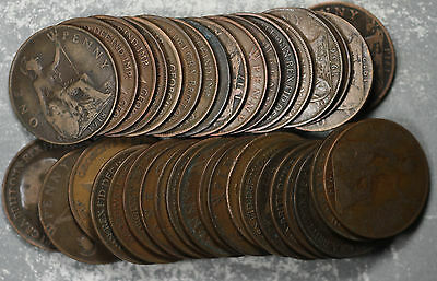 Lot of 37 Great Britain King George V One Pennies