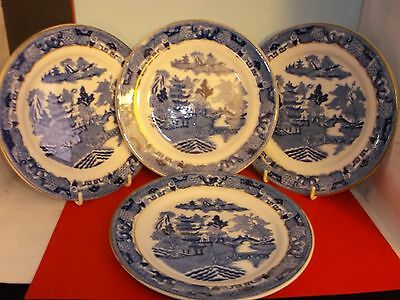 "Four 7"" Blue & White Transfer-Printed Willow Pattern Plates"