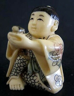 Japanese ivory color bone  netsuke -Chinese Boy Offers U Swallow Bird