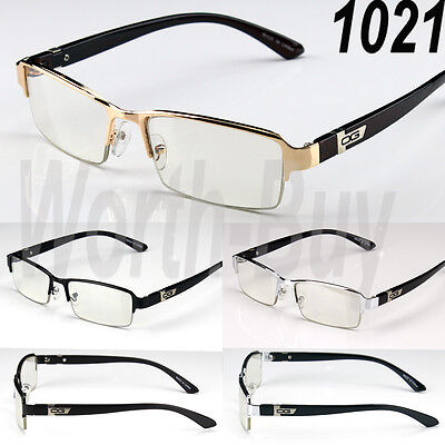 New Half Rim Mens Womens DG Clear Lens Frame Glasses Designer Fashion Nerd Rx