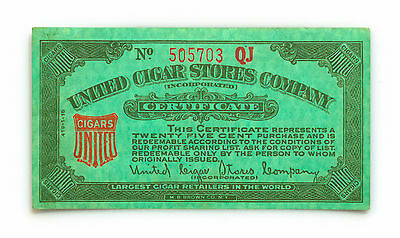 United Cigar Stores 1940's 25 cents certificate coupon nice used