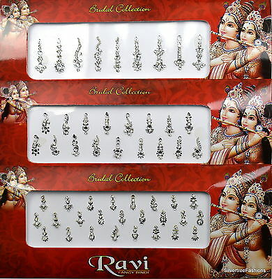 1 PACK of Silver Long Multi Pack 9 17 25 Indian BRIDAL Gem TIKKA Festival BINDI