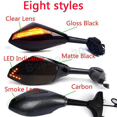 Motorcycle Black Led Turn Signals Mirrors For Kawasaki Ninja 650R 500R 250R 636