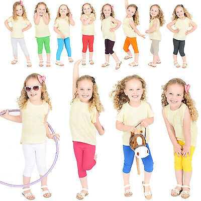 Childrens Cropped Cotton Leggings Kids 3/4 Capri Summer Ages