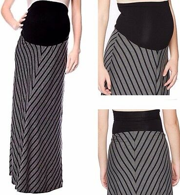 New MOTHERHOOD MATERNITY Maxi Skirt Sm 4-6 Long Mitered Striped SECRET FIT BELLY