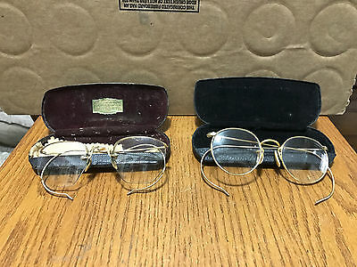 Lot Of 2 Vintage Wire Rimmed Glasses 12K Gold Filled Frames
