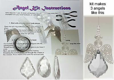 SUNCATCHER KIT makes 3 CRYSTAL ANGEL SUNCATCHERS kids diy bead craft kits
