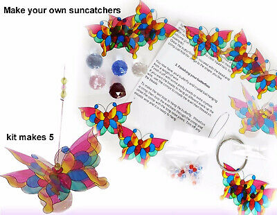 CRYSTAL SUNCATCHER KIT- makes 5 butterfly suncatchers, diy beading craft kits
