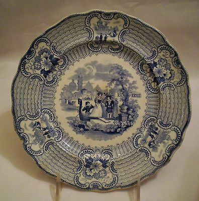 "Antique blue and white Adams Salad plate in Bologna Pattern 8 1/2"" Staffordshire"