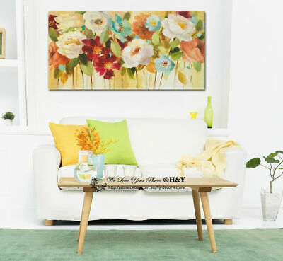 Colour Flowers Stretched Canvas Print Framed Wall Art Home Office Decor Painting