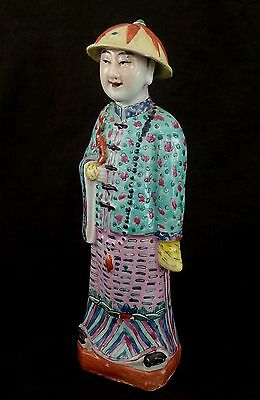 Vintage Chinese export Famille Rose porcelain figurine of a man, c1940's