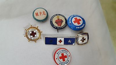 Lot of 7 Vintage Swimming and First Aid Pins/Buttons