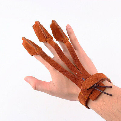 Archery 3 Finger Guard Leather Arrow Hunting Pull Bow Shooting Protect Glove