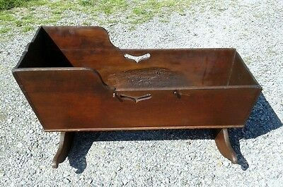Antique Early Cherry Baby CRADLE Dovetailed Circa 1840