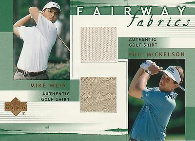 2002 Upper Deck, Mike Weir / Phil Mickelson Fairway Fabricss Dual Swatch
