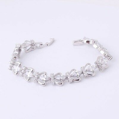 "Charming 18k white gold filled black sapphire HOT SALE bracelet 8.2/""14.1g"